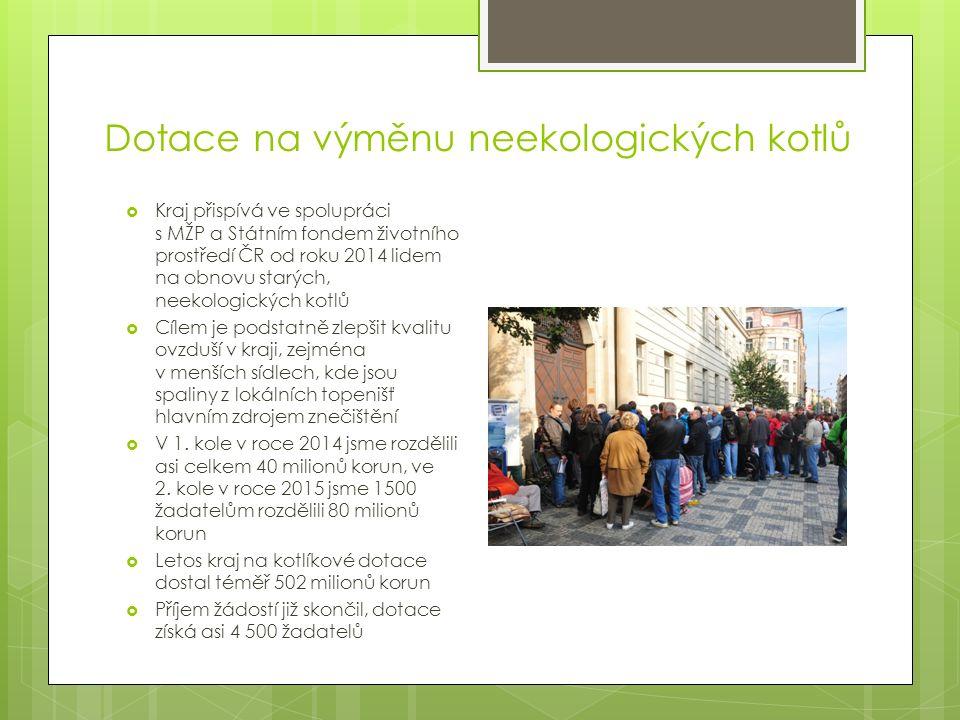Dotace na výměnu neekologických kotlů  Kraj přispívá ve spolupráci s MŽP a Státním fondem životního prostředí ČR od roku 2014 lidem na obnovu starých, neekologických kotlů  Cílem je podstatně zlepšit kvalitu ovzduší v kraji, zejména v menších sídlech, kde jsou spaliny z lokálních topenišť hlavním zdrojem znečištění  V 1.