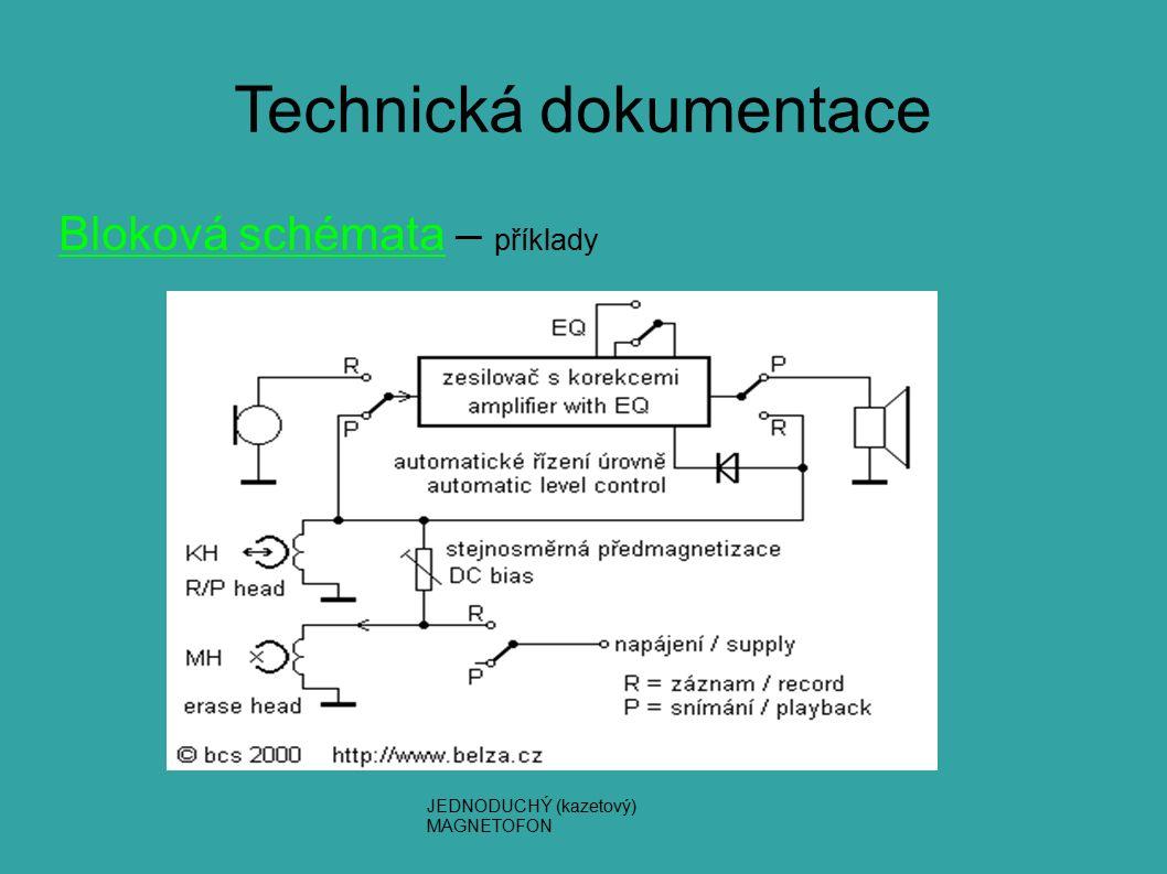 Technická dokumentace Bloková schémata – příklady JEDNODUCHÝ (kazetový) MAGNETOFON