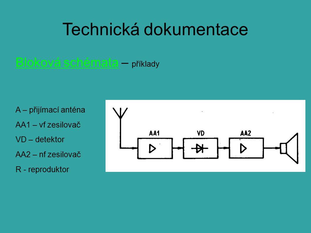 Technická dokumentace Bloková schémata – příklady A – přijímací anténa AA1 – vf zesilovač VD – detektor AA2 – nf zesilovač R - reproduktor