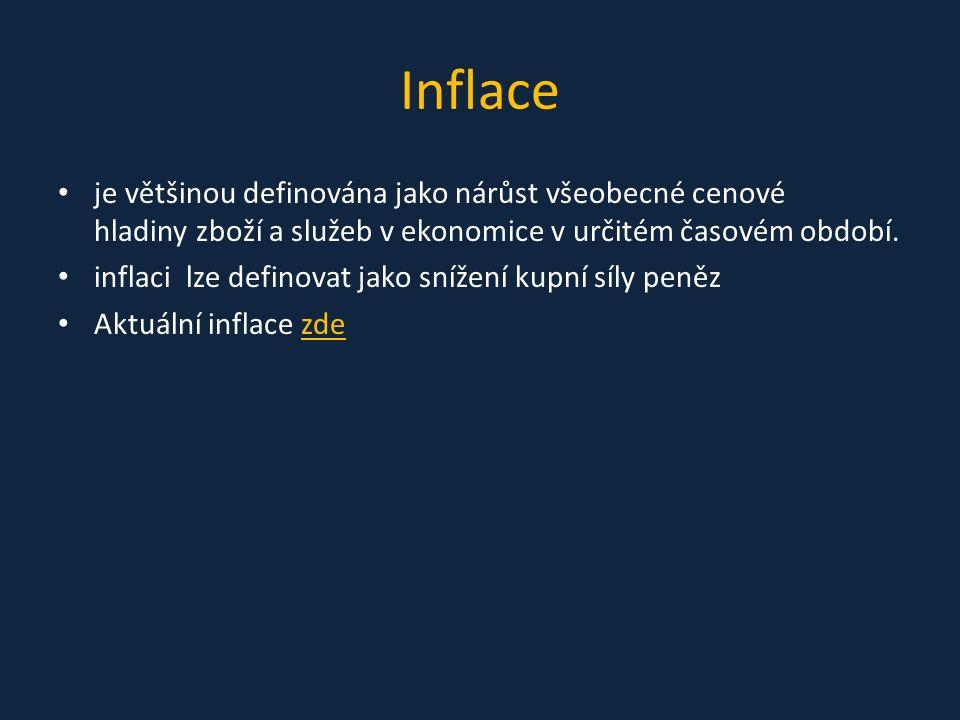 Inflace je většinou definována jako nárůst všeobecné cenové hladiny zboží a služeb v ekonomice v určitém časovém období.