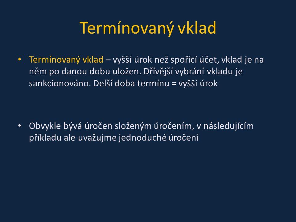 Pan Novák uložil do banky 100 000 Kč na měsíční termínovaný vklad úročený 0,5%.