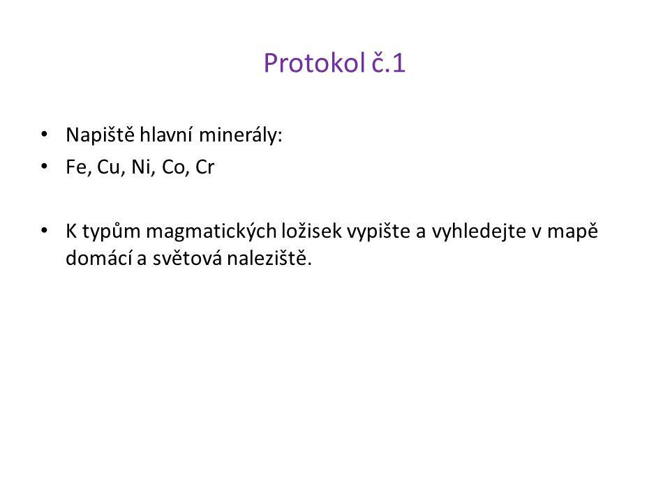Protokol č.1 Napiště hlavní minerály: Fe, Cu, Ni, Co, Cr K typům magmatických ložisek vypište a vyhledejte v mapě domácí a světová naleziště.