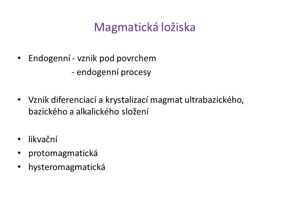 Magmatická ložiska Endogenní - vznik pod povrchem - endogenní procesy Vznik diferenciací a krystalizací magmat ultrabazického, bazického a alkalického složení likvační protomagmatická hysteromagmatická
