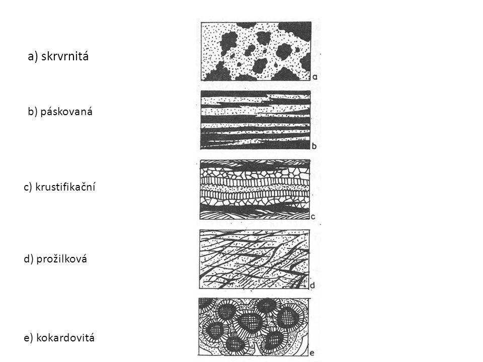 a) skrvrnitá b) páskovaná c) krustifikační d) prožilková e) kokardovitá