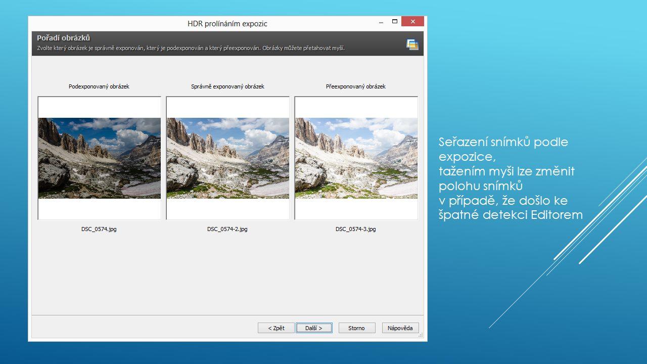 Seřazení snímků podle expozice, tažením myši lze změnit polohu snímků v případě, že došlo ke špatné detekci Editorem