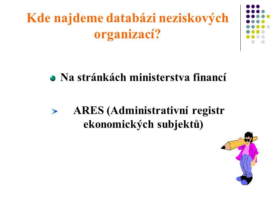 Kde najdeme databázi neziskových organizací.