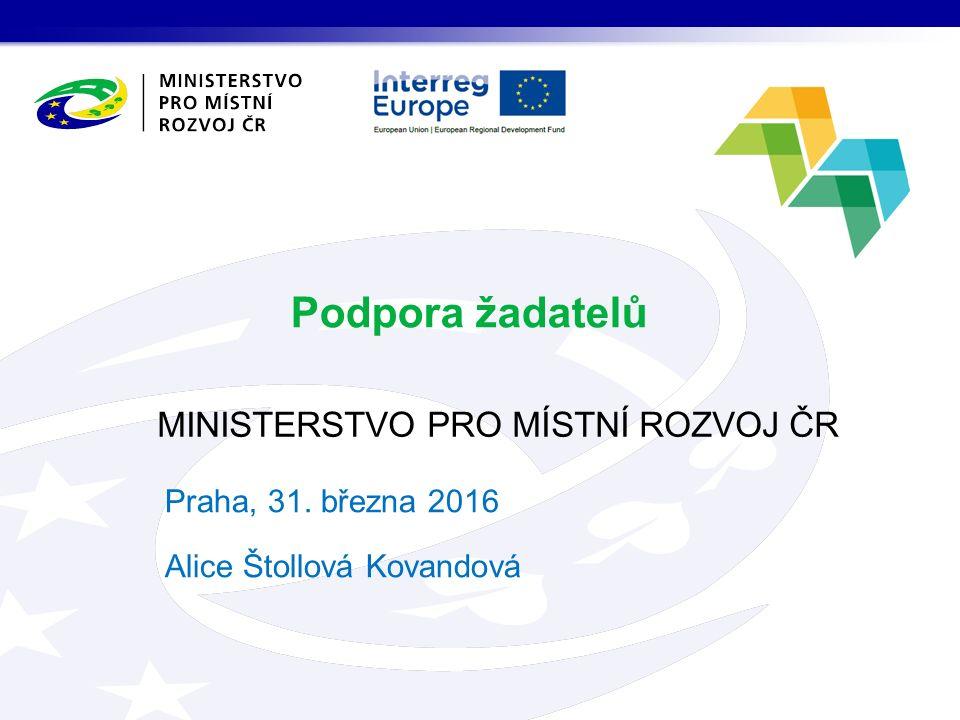 MINISTERSTVO PRO MÍSTNÍ ROZVOJ ČR Podpora žadatelů Praha, 31. března 2016 Alice Štollová Kovandová