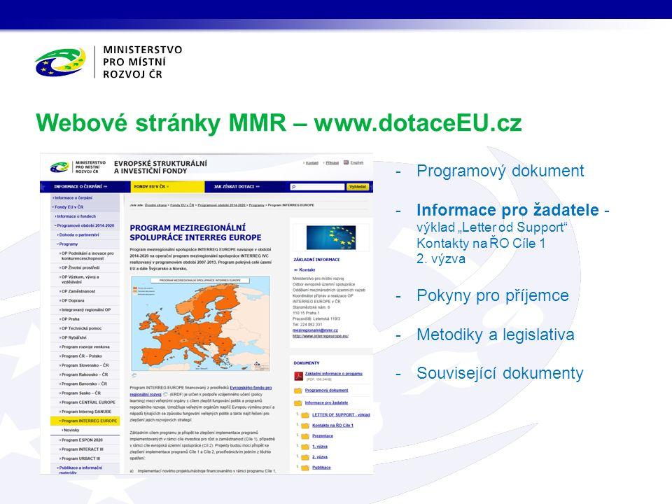 """Webové stránky MMR – www.dotaceEU.cz -Programový dokument -Informace pro žadatele - výklad """"Letter od Support Kontakty na ŘO Cíle 1 2."""