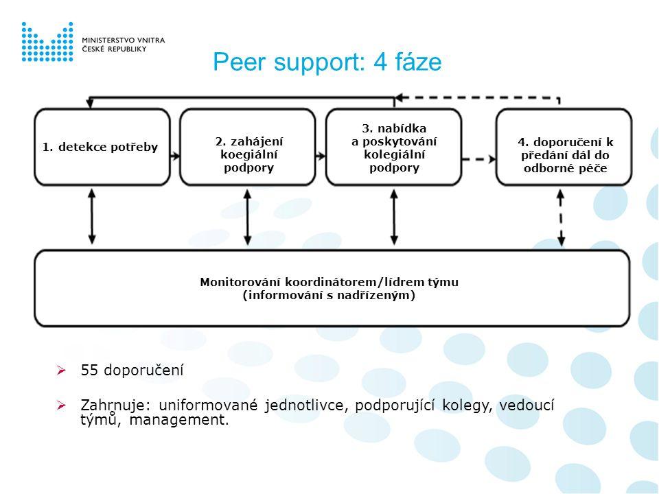 Peer support: 4 fáze 1.detekce potřeby 2. zahájení koegiální podpory 3. nabídka a poskytování kolegiální podpory 4. doporučení k předání dál do odborn