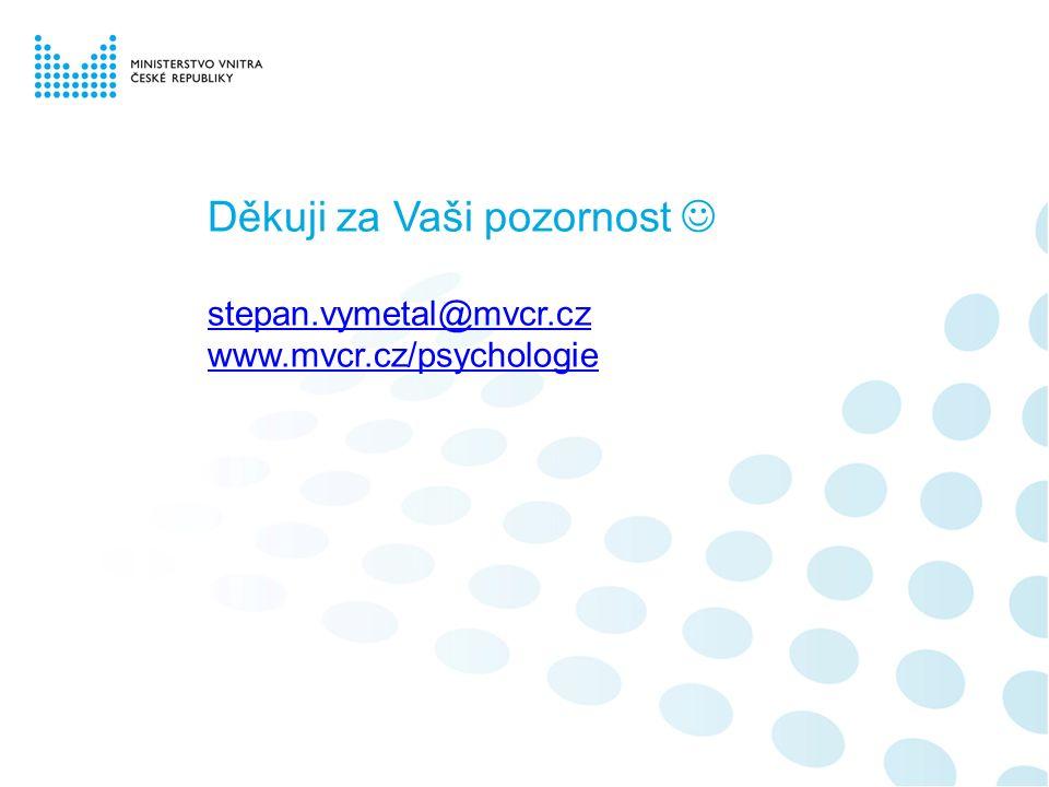 Děkuji za Vaši pozornost stepan.vymetal@mvcr.cz www.mvcr.cz/psychologie stepan.vymetal@mvcr.cz www.mvcr.cz/psychologie
