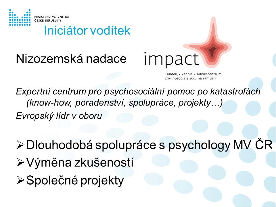 Iniciátor vodítek Nizozemská nadace Expertní centrum pro psychosociální pomoc po katastrofách (know-how, poradenství, spolupráce, projekty…) Evropský