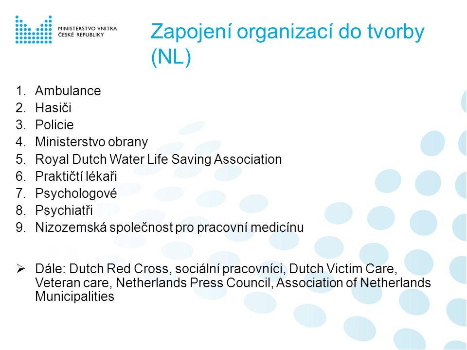 Zapojení organizací do tvorby (NL) 1.Ambulance 2.Hasiči 3.Policie 4.Ministerstvo obrany 5.Royal Dutch Water Life Saving Association 6.Praktičtí lékaři