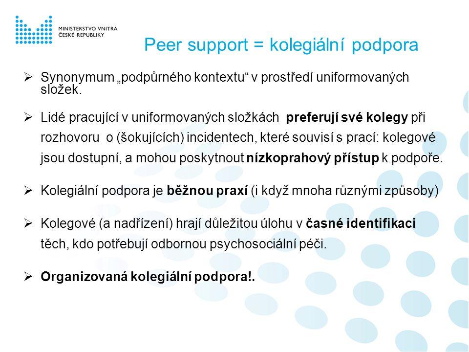 """Peer support = kolegiální podpora  Synonymum """"podpůrného kontextu v prostředí uniformovaných složek."""