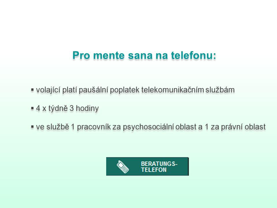 Pro mente sana na telefonu:  volající platí paušální poplatek telekomunikačním službám  4 x týdně 3 hodiny  ve službě 1 pracovník za psychosociální oblast a 1 za právní oblast Pro mente sana na telefonu:  volající platí paušální poplatek telekomunikačním službám  4 x týdně 3 hodiny  ve službě 1 pracovník za psychosociální oblast a 1 za právní oblast