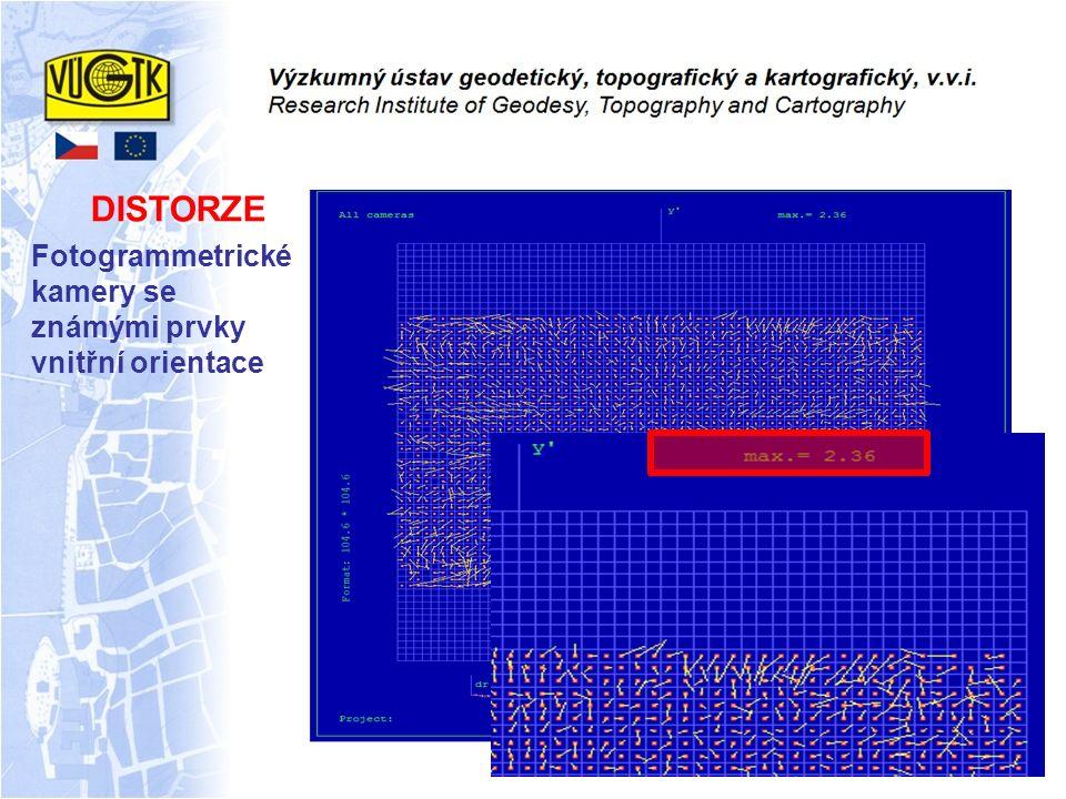 DISTORZE Fotogrammetrické kamery se známými prvky vnitřní orientace