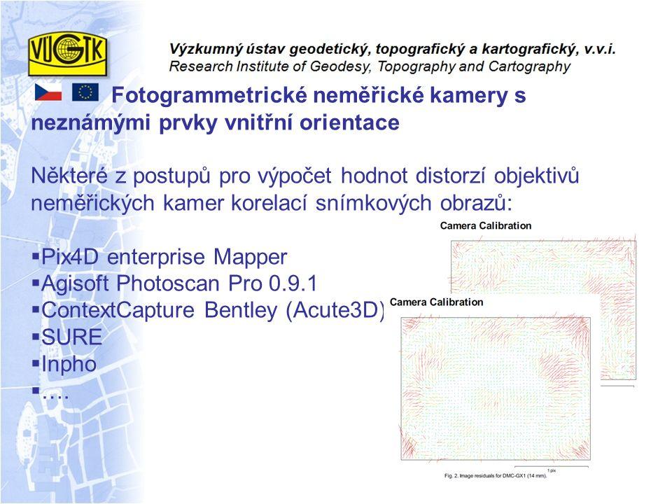 Fotogrammetrické neměřické kamery s neznámými prvky vnitřní orientace Některé z postupů pro výpočet hodnot distorzí objektivů neměřických kamer korela