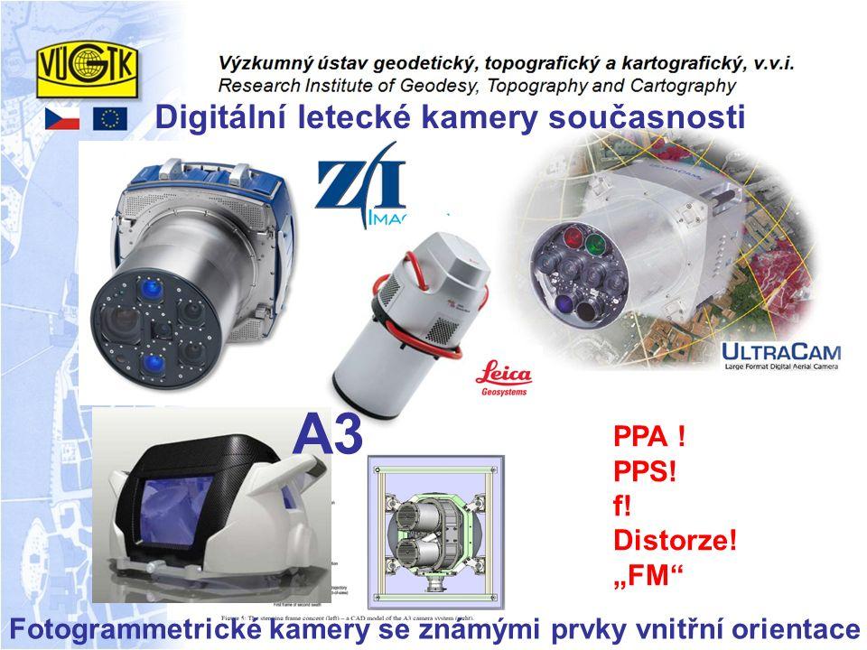"""Fotogrammetrické kamery se známými prvky vnitřní orientace PPA ! PPS! f! Distorze! """"FM"""" A3 Digitální letecké kamery současnosti"""