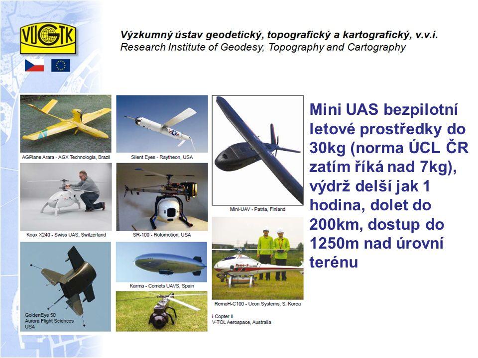 Mini UAS bezpilotní letové prostředky do 30kg (norma ÚCL ČR zatím říká nad 7kg), výdrž delší jak 1 hodina, dolet do 200km, dostup do 1250m nad úrovní