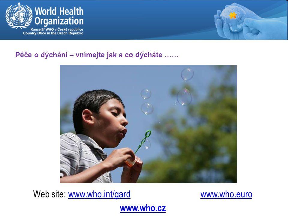 Děkui za pozornost Web site: www.who.int/gard www.who.eurowww.who.int/gardwww.who.euro www.who.cz Péče o dýchání – vnímejte jak a co dýcháte ……