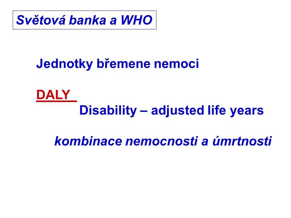 Jednotky břemene nemoci DALY Disability – adjusted life years kombinace nemocnosti a úmrtnosti Světová banka a WHO