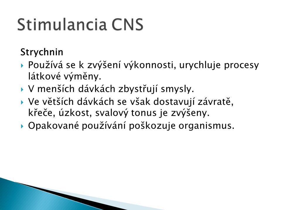 Strychnin  Používá se k zvýšení výkonnosti, urychluje procesy látkové výměny.