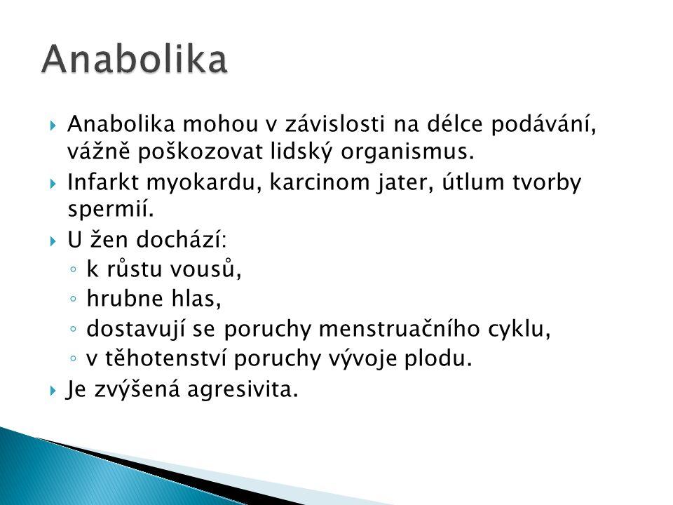  Anabolika mohou v závislosti na délce podávání, vážně poškozovat lidský organismus.