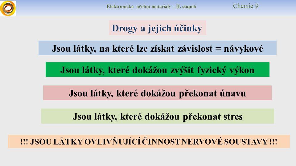 """Elektronické učební materiály - II.stupeň Chemie 9 Proč """"měkká a """"tvrdá droga??."""