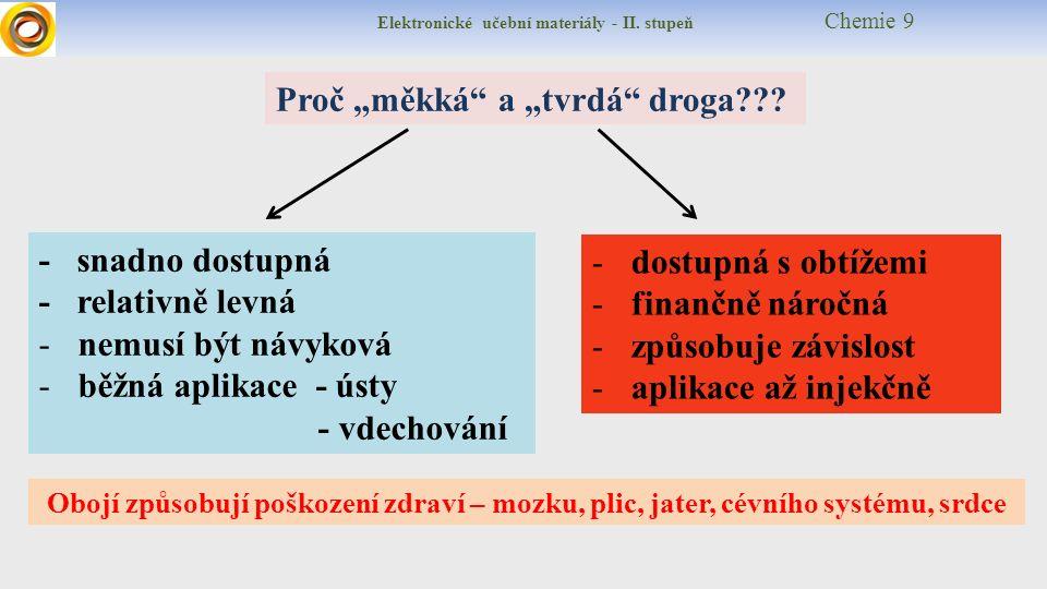 """Elektronické učební materiály - II. stupeň Chemie 9 Proč """"měkká a """"tvrdá droga ."""