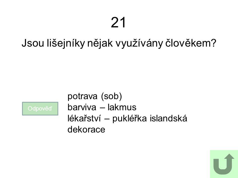 21 Jsou lišejníky nějak využívány člověkem.