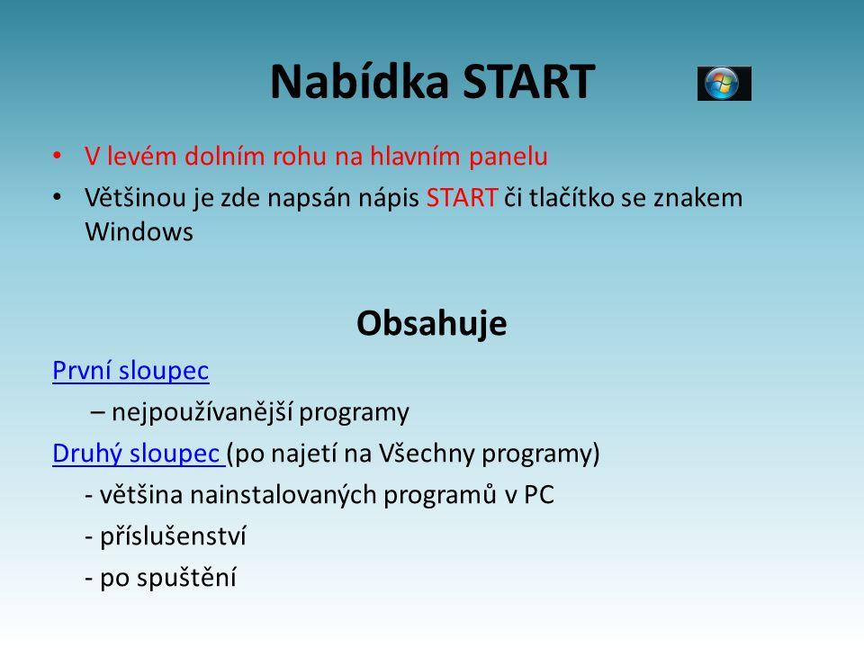 Nabídka START V levém dolním rohu na hlavním panelu Většinou je zde napsán nápis START či tlačítko se znakem Windows Obsahuje První sloupec – nejpoužívanější programy Druhý sloupec (po najetí na Všechny programy) - většina nainstalovaných programů v PC - příslušenství - po spuštění