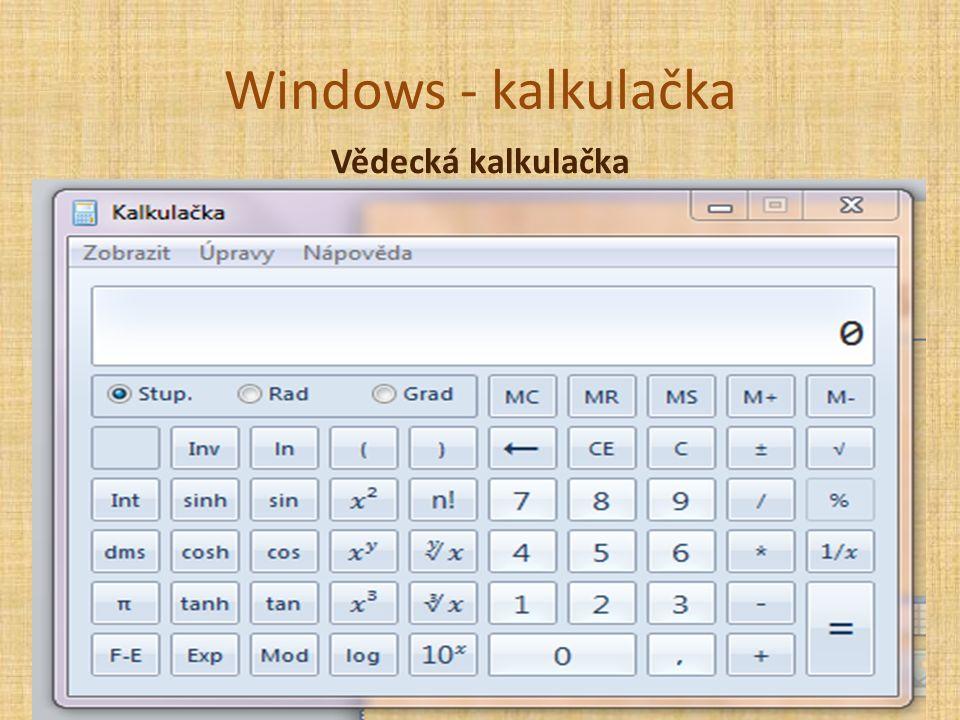 Windows - kalkulačka Vědecká kalkulačka