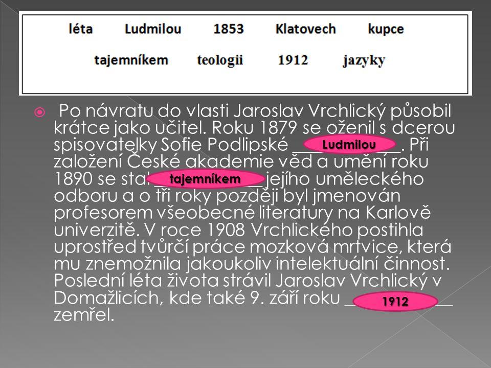  Po návratu do vlasti Jaroslav Vrchlický působil krátce jako učitel.