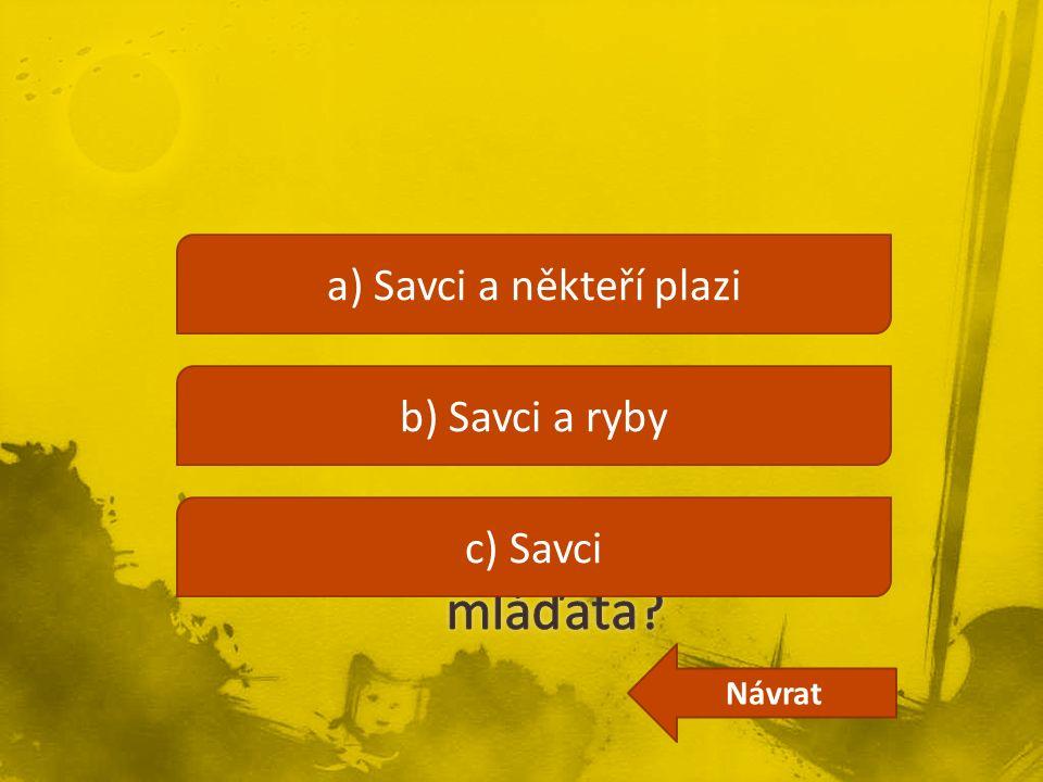 a) Savci a někteří plazi b) Savci a ryby c) Savci Návrat