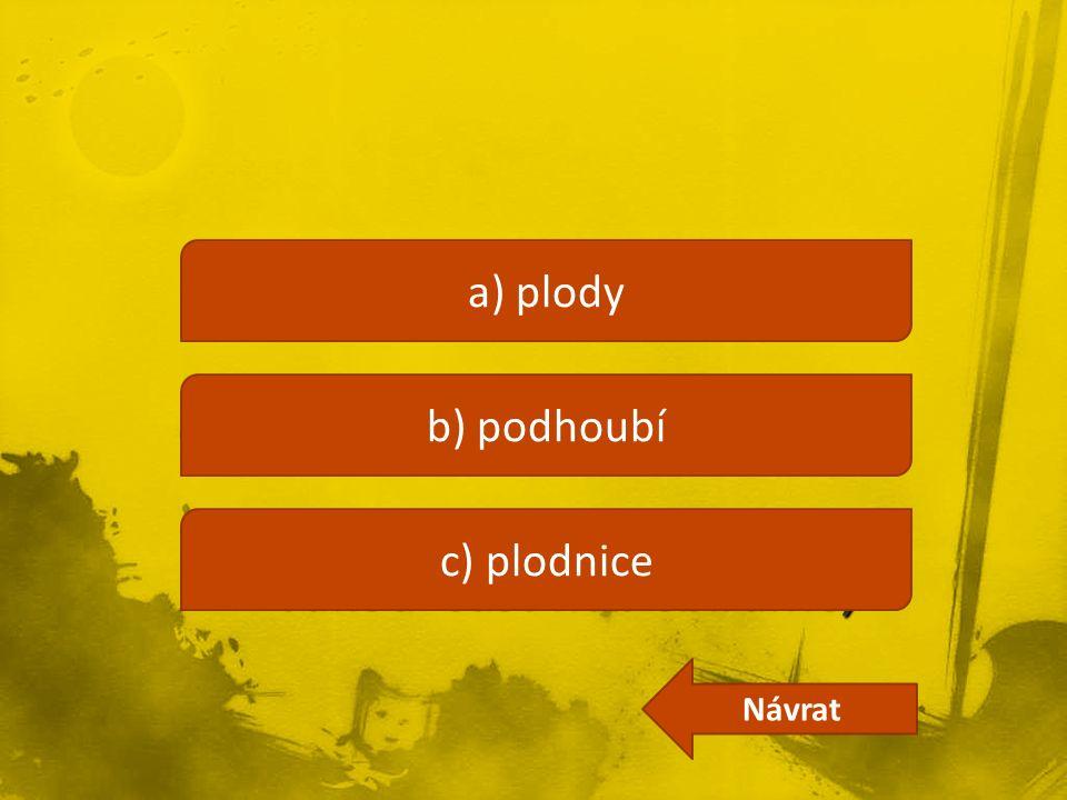 a) plody b) podhoubí c) plodnice Návrat