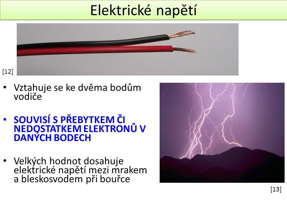 Elektrické napětí Elektrické napětí Vztahuje se ke dvěma bodům vodiče SOUVISÍ S PŘEBYTKEM ČI NEDOSTATKEM ELEKTRONŮ V DANÝCH BODECH Velkých hodnot dosahuje elektrické napětí mezi mrakem a bleskosvodem při bouřce [12] [13]