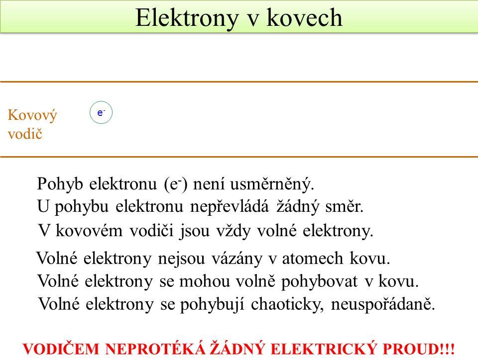Elektrony v kovech Kovový vodič e-e- Pohyb elektronu (e - ) není usměrněný.