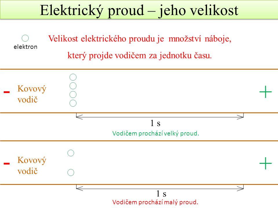 Elektrický proud jako fyzikální veličina Značka: I Jednotka: A (ampér) Měřidlo: ampérmetr Velikost proudu Podobně jako u vody – proud je větší, když proteče více vody v daném čase Elektrický proud je tím větší, čím větší množství nabitých částic projde vodičem za stejný čas Čím více svítí žárovka – tím větší proud jí prochází A [5] [6] [7] Jednotka elektrického proudu je pojmenována po francouzském fyziku a matematikovi André- Marie Ampérovi.