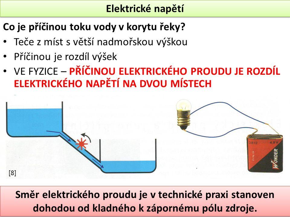 Elektrické napětí Co je příčinou toku vody v korytu řeky.