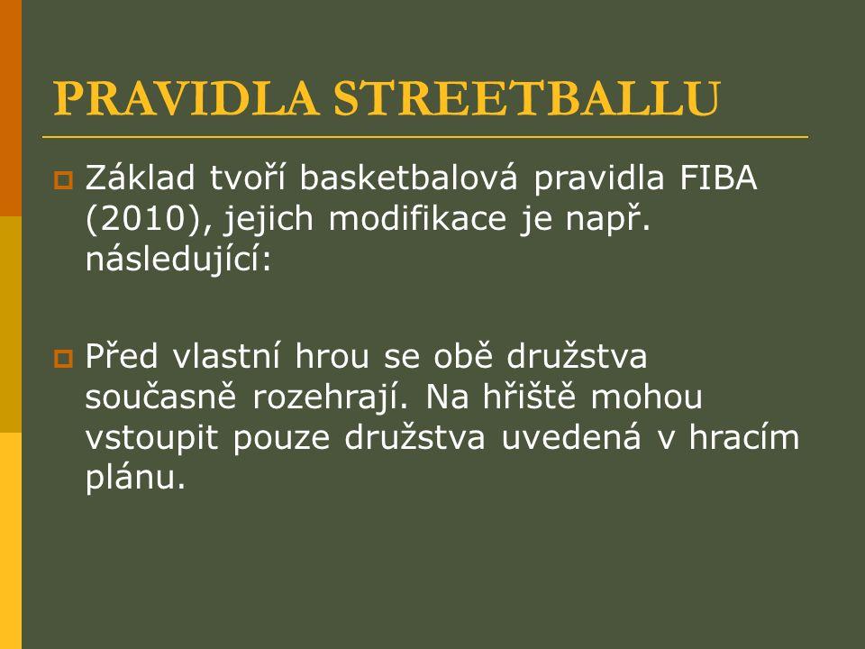 PRAVIDLA STREETBALLU  Základ tvoří basketbalová pravidla FIBA (2010), jejich modifikace je např.