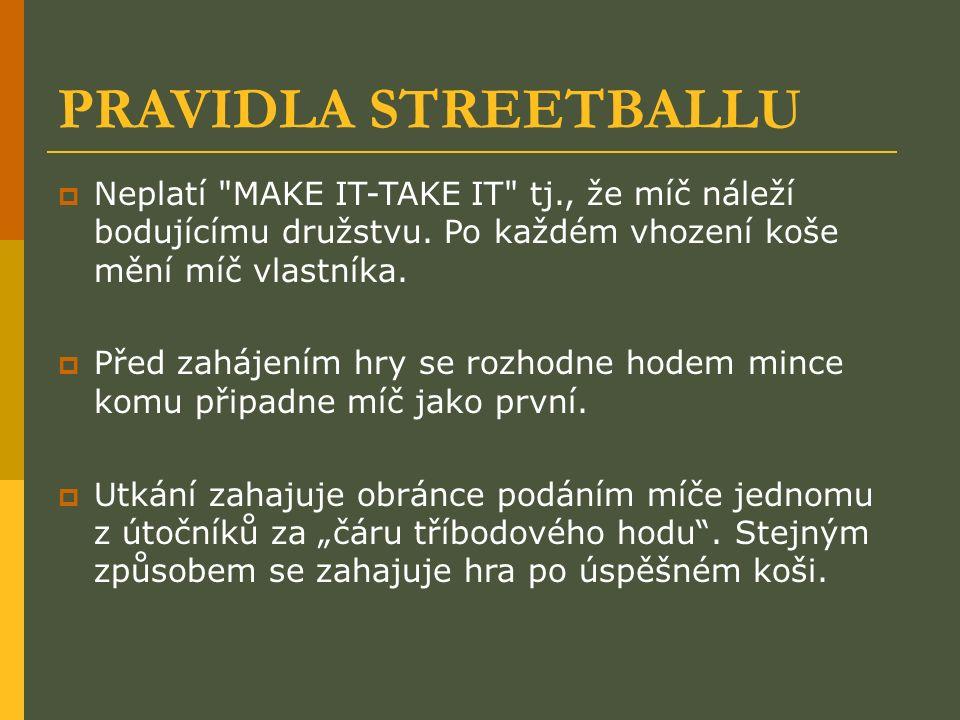 PRAVIDLA STREETBALLU  Neplatí MAKE IT-TAKE IT tj., že míč náleží bodujícímu družstvu.