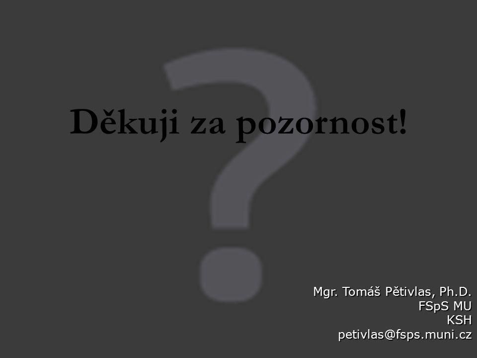 Děkuji za pozornost! Mgr. Tomáš Pětivlas, Ph.D. FSpS MU KSHpetivlas@fsps.muni.cz