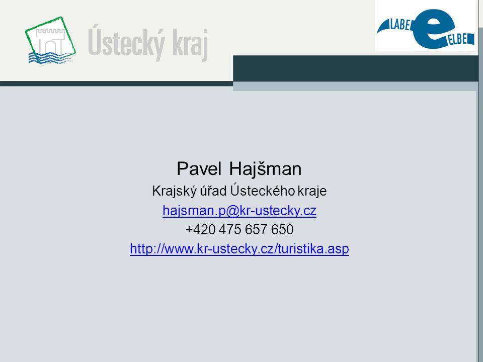 Pavel Hajšman Krajský úřad Ústeckého kraje hajsman.p@kr-ustecky.cz +420 475 657 650 http://www.kr-ustecky.cz/turistika.asp