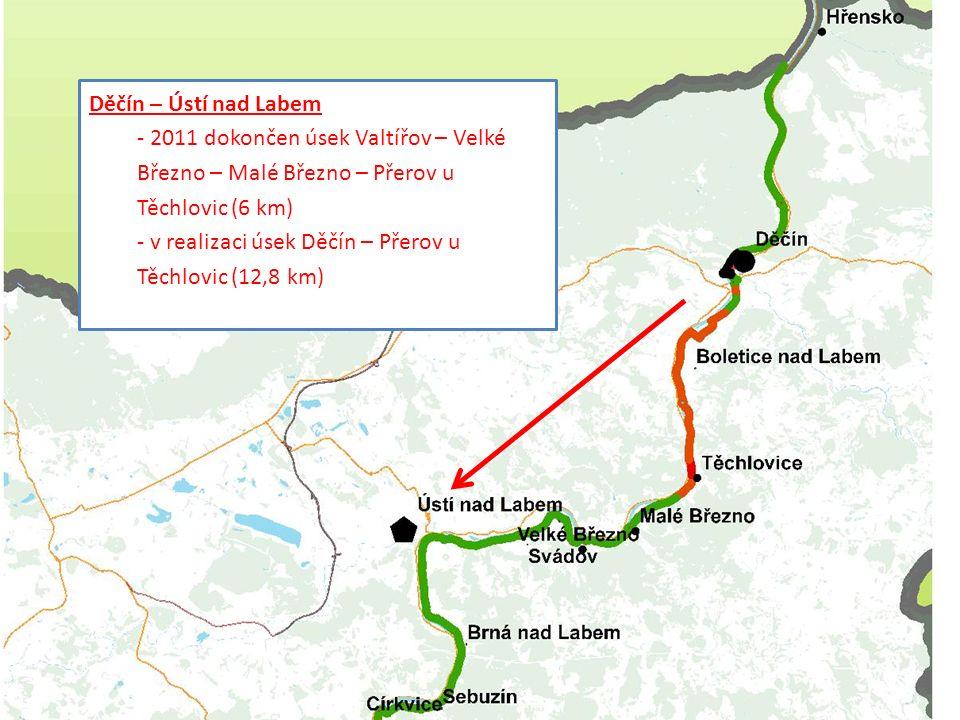 Téma prezentace Děčín – Ústí nad Labem - 2011 dokončen úsek Valtířov – Velké Březno – Malé Březno – Přerov u Těchlovic (6 km) - v realizaci úsek Děčín