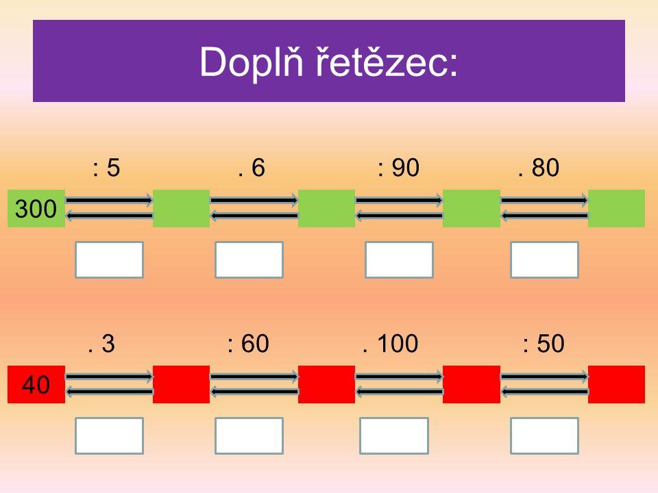 Doplň řetězec: 300 : 5. 80: 90. 6 40 : 50. 100: 60. 3