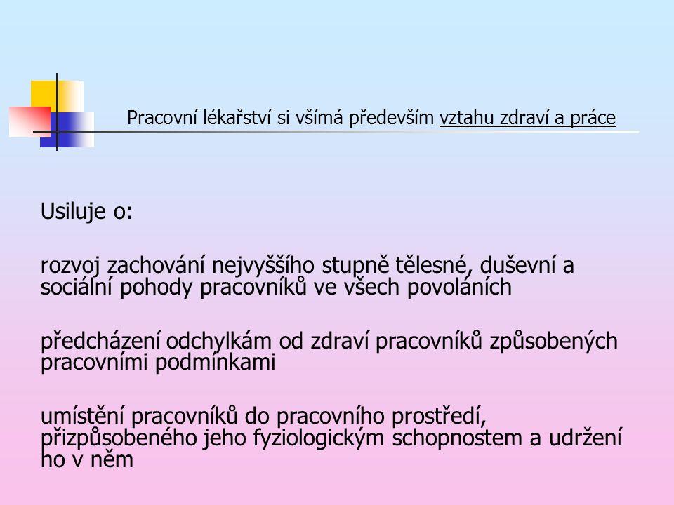 Pracovní lékařství Interdisciplinární obor Závodní preventivní péče pracovnělékařské služby (pracovní lékař, praktický registrující lékař) Hodnocení pracovního prostředí KHS, zdravotní ústavy, akreditované laboratoře, SZÚ, Ustav jaderné bezpečnosti apod.