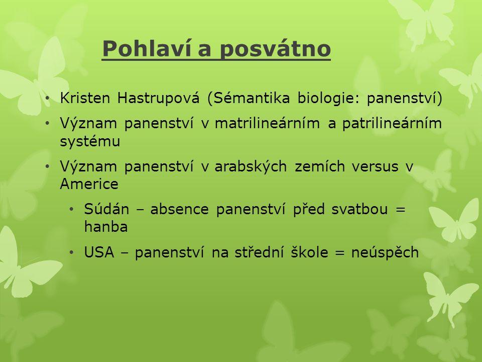 Pohlaví a posvátno Kristen Hastrupová (Sémantika biologie: panenství) Význam panenství v matrilineárním a patrilineárním systému Význam panenství v ar