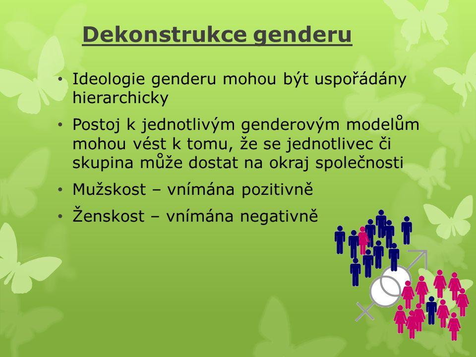 Dekonstrukce genderu Ideologie genderu mohou být uspořádány hierarchicky Postoj k jednotlivým genderovým modelům mohou vést k tomu, že se jednotlivec