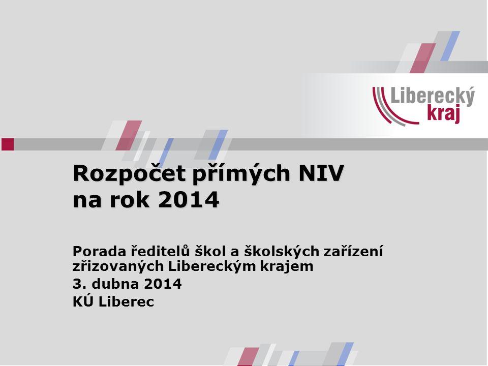 Rozpočet přímých NIV na rok 2014 Porada ředitelů škol a školských zařízení zřizovaných Libereckým krajem 3. dubna 2014 KÚ Liberec