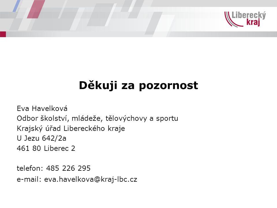Děkuji za pozornost Eva Havelková Odbor školství, mládeže, tělovýchovy a sportu Krajský úřad Libereckého kraje U Jezu 642/2a 461 80 Liberec 2 telefon: