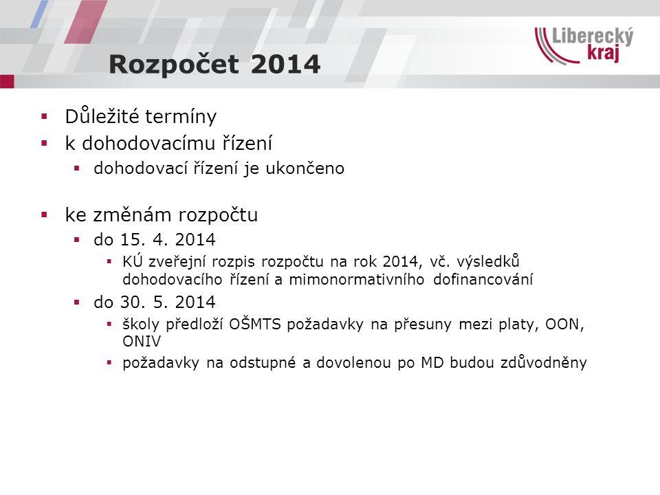 Rozpočet 2014  Důležité termíny  k dohodovacímu řízení  dohodovací řízení je ukončeno  ke změnám rozpočtu  do 15. 4. 2014  KÚ zveřejní rozpis ro